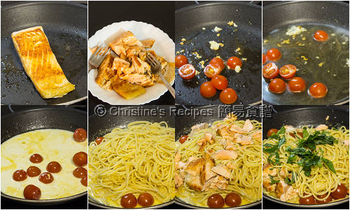 三文魚意大利粉配檸檬忌廉汁製作圖 Salmon Spaghetti with Creamy Lemon Sauce Procedures