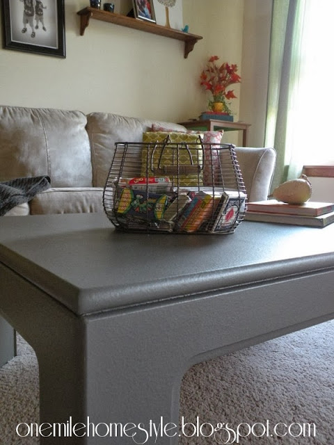 Dark Gray Coffee Table Styled With Books and a Basket