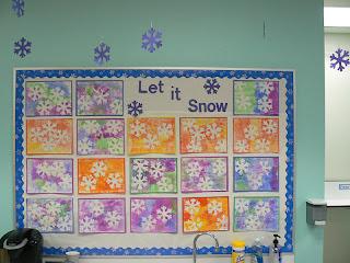 Mrs T S First Grade Class Snowflake Art