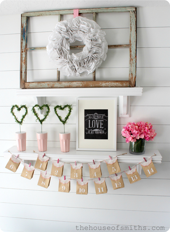 simple fresh valentines shelf decor 2013
