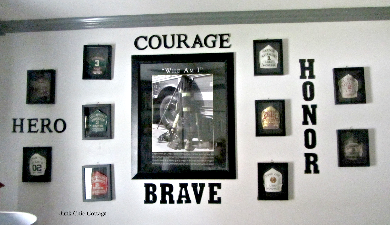 I made up this wall with all his leather shields that he has worn on his  helmut throughout the years  He started as a firefighter paramedic and rose  up  Junk Chic Cottage  October 2013. Firefighter Room Decor. Home Design Ideas