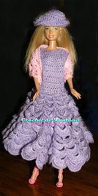 Crochet, Ganchillo, Vestido, Chal, Sombrero, Barbie, muñeca