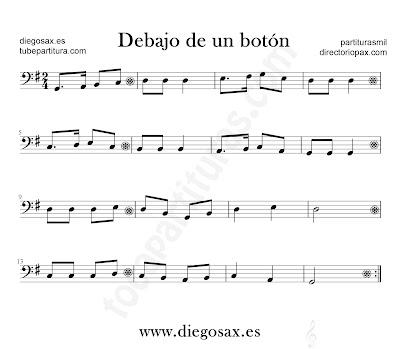 Debajo de un botón partitura para Trombón, Tuba, Violonchelo, Fagot, Bombardino... en clave de Fa en sol mayor