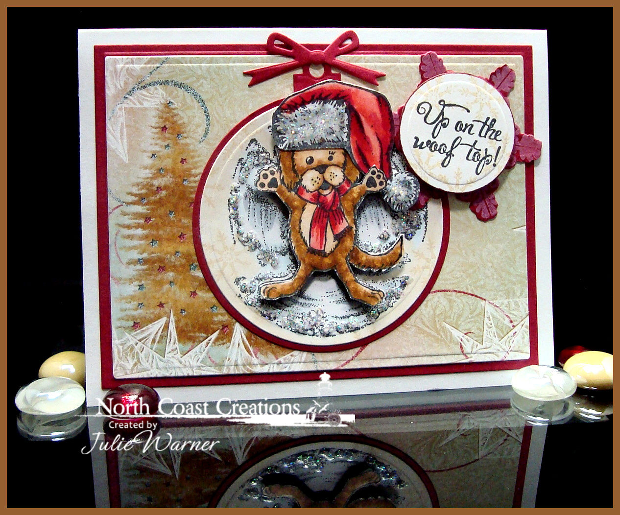 Stamps - North Coast Creations Snow Angel Murphy, Santa Paws, Santa Claws, ODBD Christmas Paper Collection 2014, ODBD Snowflakes, ODBD Sparkling Snowflakes Dies, ODBD Custom Circle Ornament Dies, ODBD Custom Matting Circles Dies
