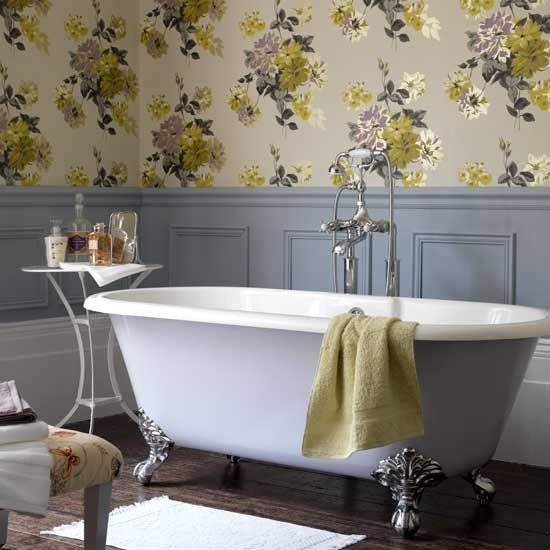 To da loos wainscoting in the washroom which style works for Bathroom wallpaper