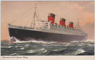 Vintage postcard of the Cunard RMS Queen Mary