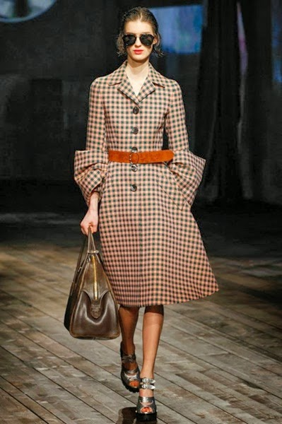 Prada FW 2013 Gingham Check Coat
