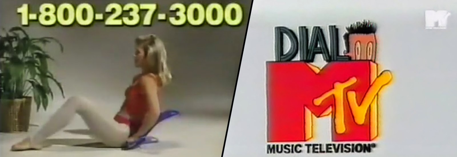 composite image of The Abdominizer TV commercial and Dial MTV Hotline TV promo.