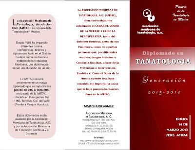 Trítpico del Diplomado en Tanatología 2013 de la Asociación Mexicana de Tanatología.