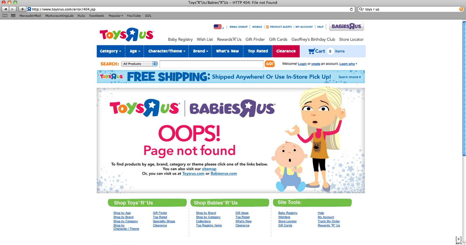 google 404 toysrus 404