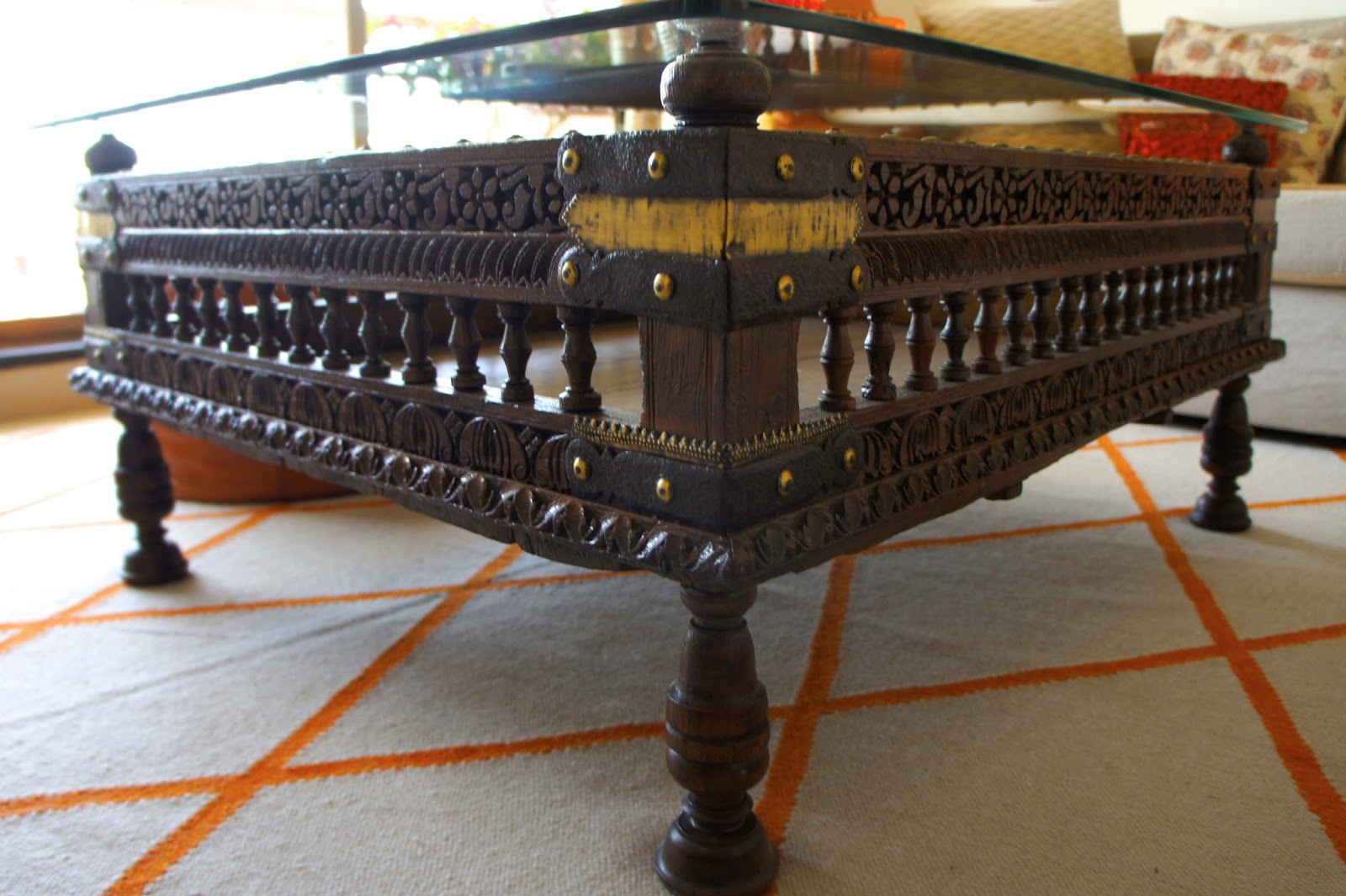 Attirant Carved Wooden Cradle From Gujurat Converted Into A Coffee Table. I Like The  Fact That It Has A History.