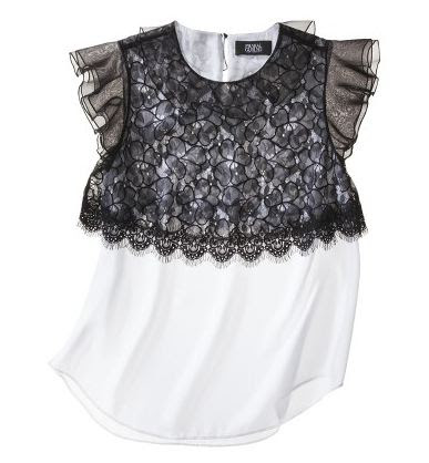 Prabal Gurung for Target lace overlay black and white top 29.99