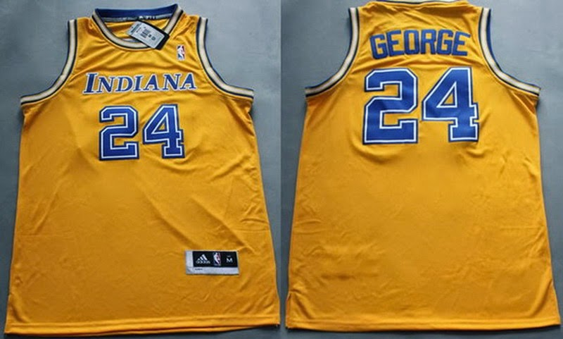 ... Throwback Jersey (17)Indiana Pacers 24 Paul George NBA Hardwood Classic Swingman  Yellow Jersey ... 5c3823728