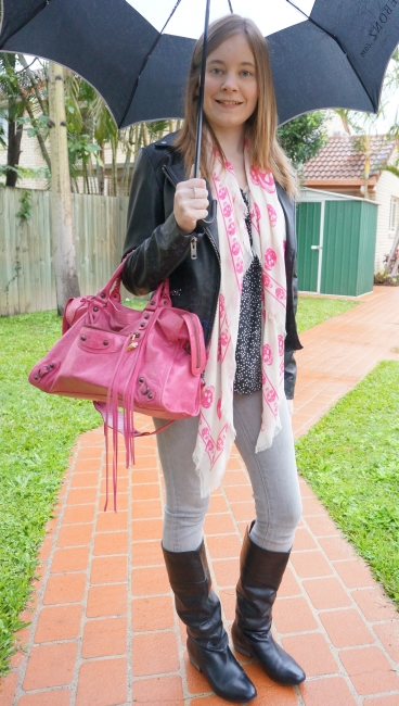 Away From Blue blog grey and black prints with pink accessories