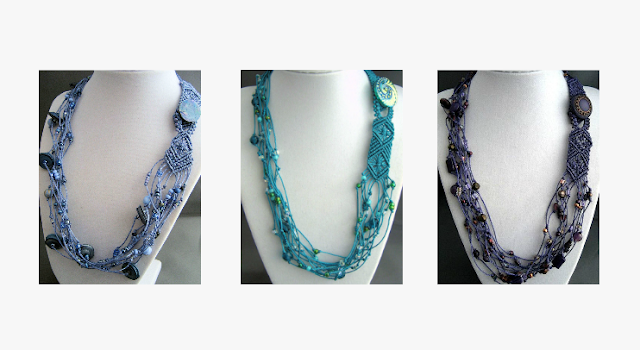 Multi-strand micro macrame necklaces by Sherri Stokey of Knot Just Macrame