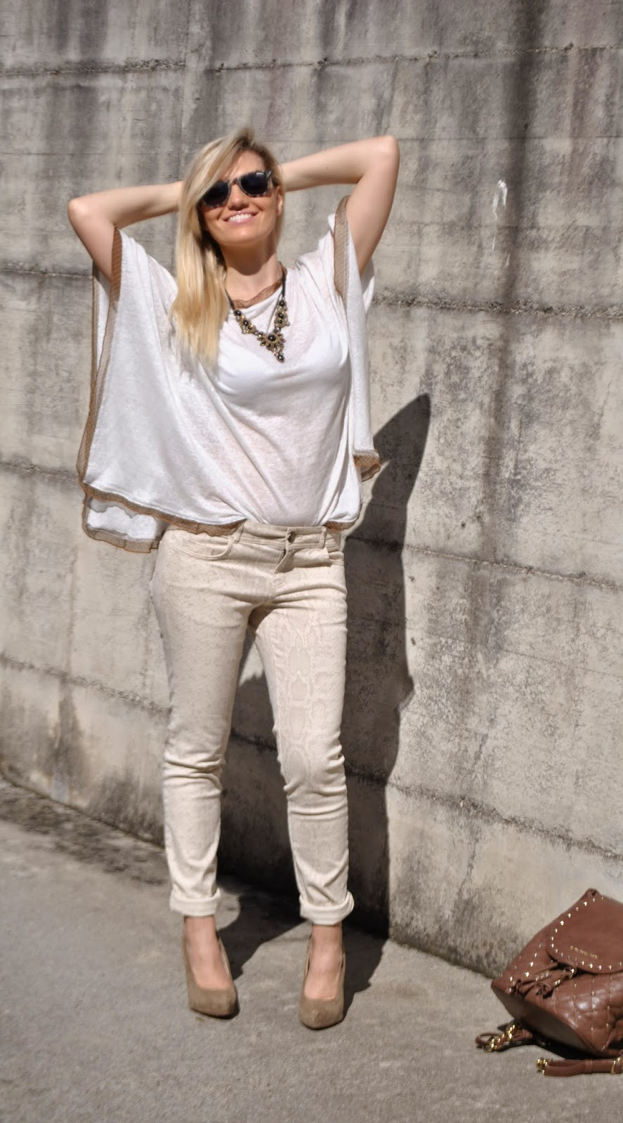 Color Block By Felym Outfit Beige Kimono Shirt Skinny