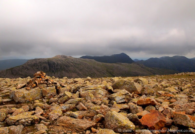 Yellow rocks - climbing Scafell Pike, England