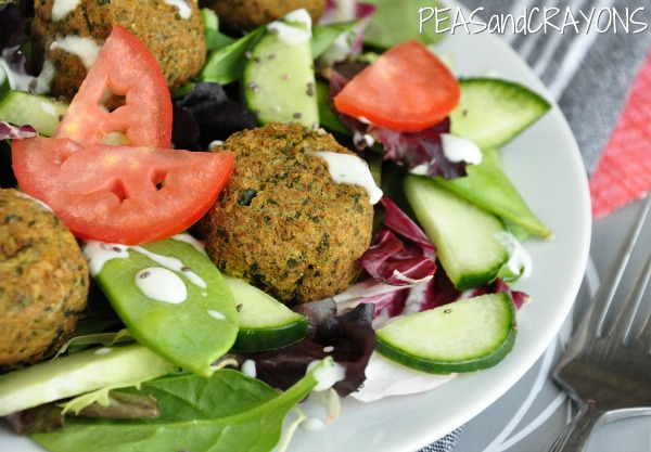 Falafel Salad with Homemade Zucchini Tzatziki Dressing