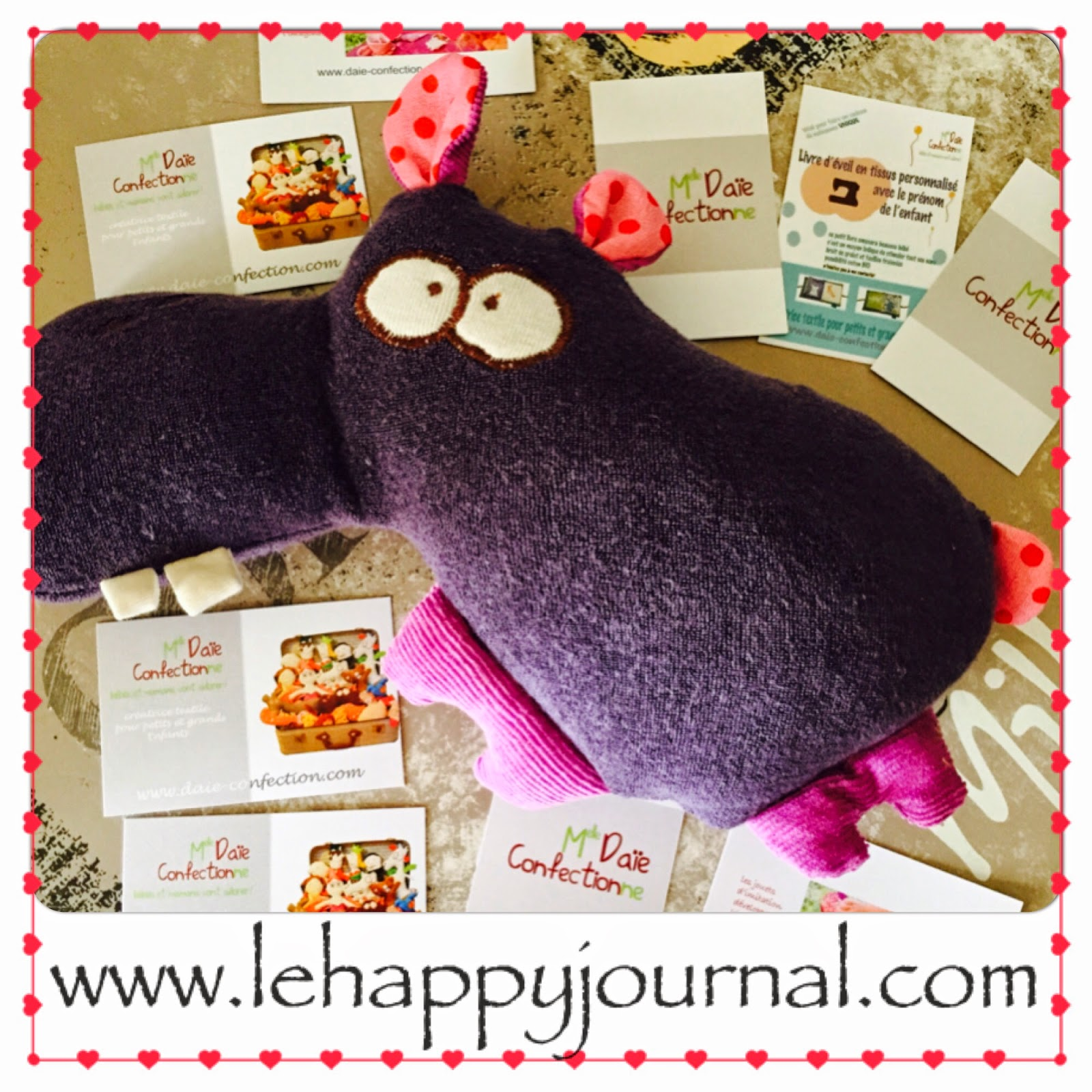 Melle Daie confection, doudou, couverture, coton bio, hippo, dessin en doudou, partenaire, happy journal