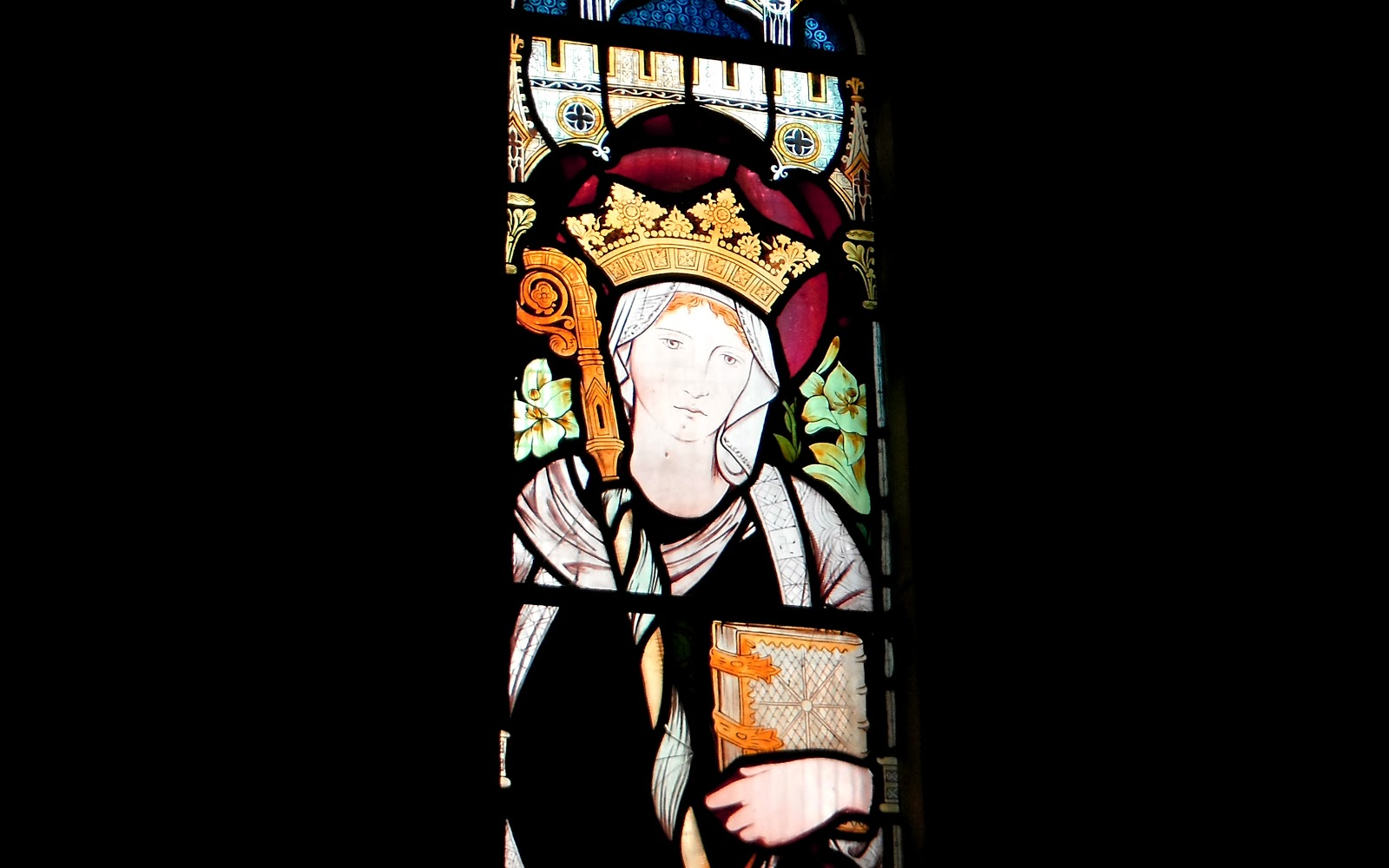 Stained-glass portrait of Saint Editha in Amington Church