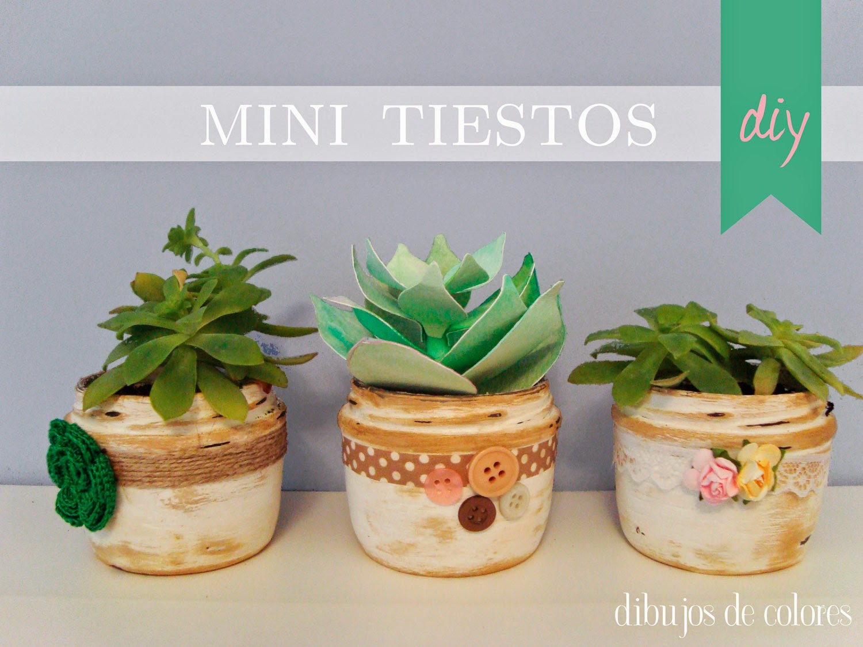 Mini Tiestos con chalk paint - Dibujos de Colores