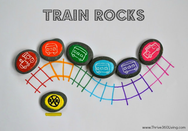 Train rocks are a great way to teach kids and toddlers colors