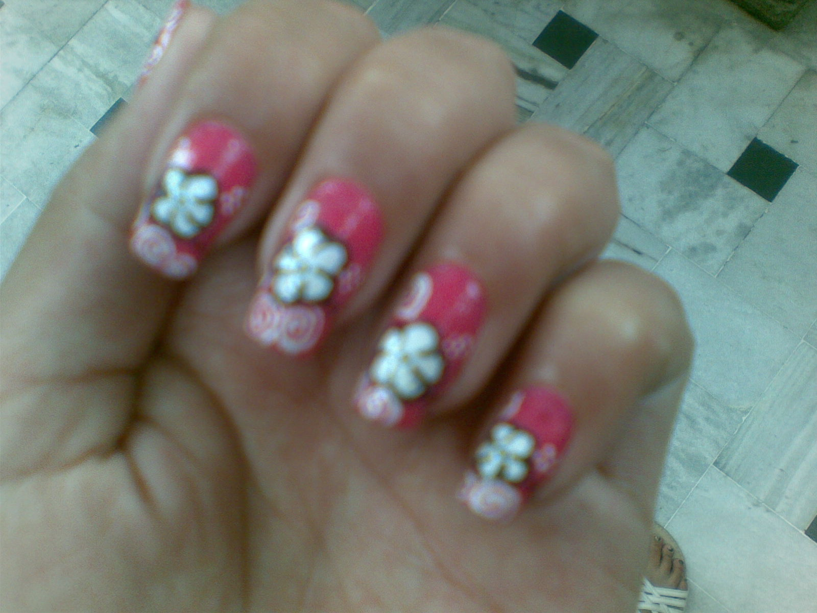 Pretty Pink Flower Nail Design pictures