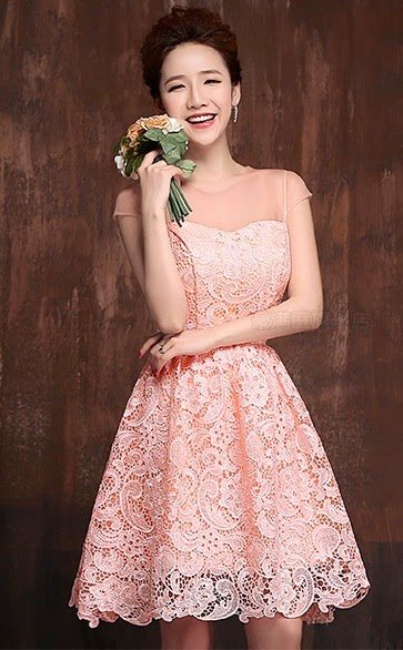 Pink Transparent Lace Top Crochet Embroidery Midi Flare Dress