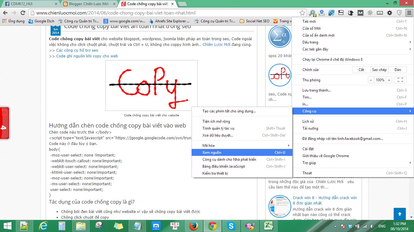 Cách copy trên web chống copy
