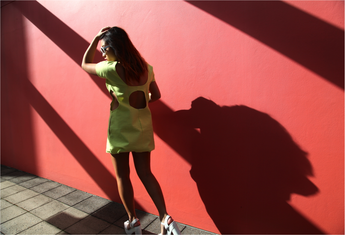 summer neon dress with cut out back on epique