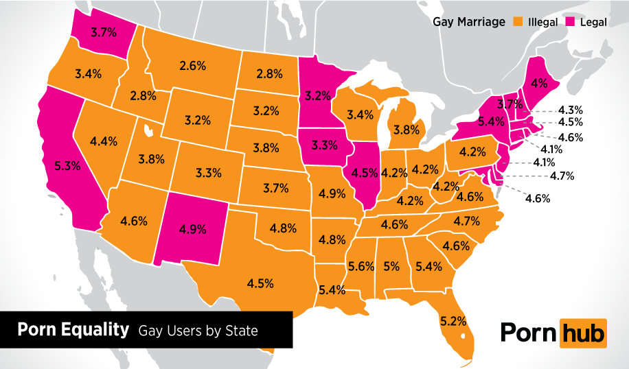 PORNHUB'S STATE-BY-STATE VIEWER PERCENTAGES ...