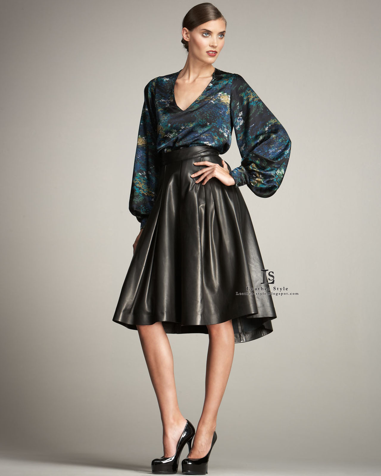 Satin pleated skirts and blouses