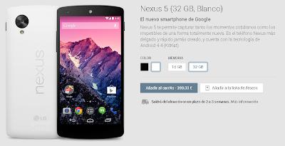 El periodo de entrega del Nexus 5 de 32Gb en Blanco es de 2 a 3 semanas