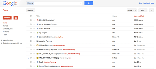 New Google Docs Interface