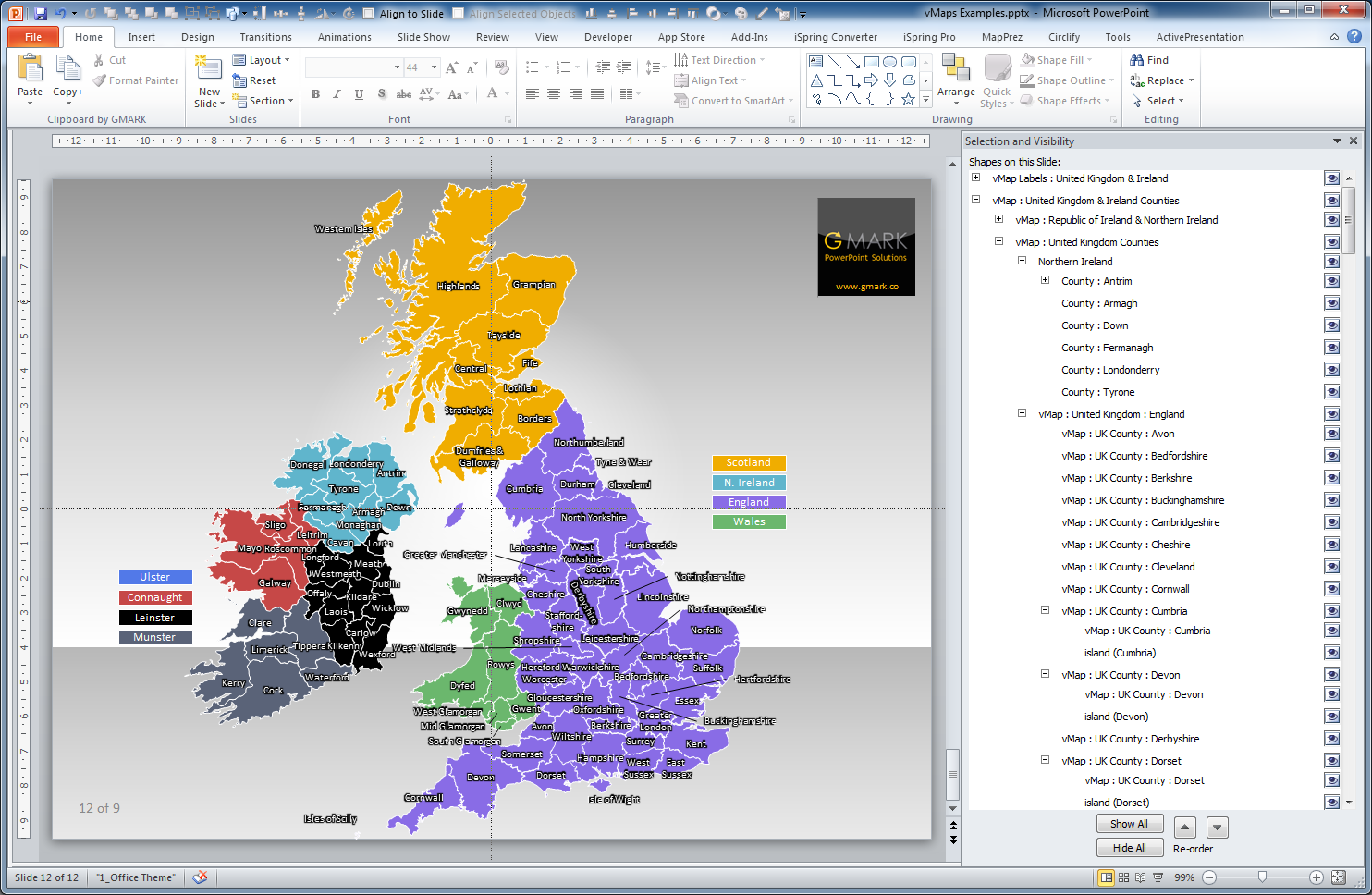 easily find and select the counties regions using the powerpoint selection pane