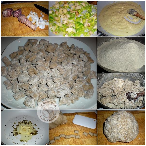 Gnocchetti con farina di segale e crema di topinambur e porri