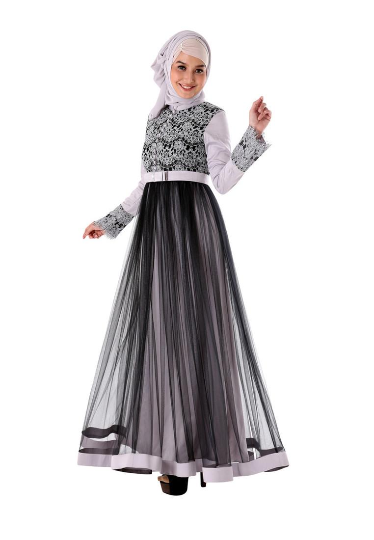 20 Model Baju Gamis Brokat Untuk Lebaran Terbaru 2017 Contoh