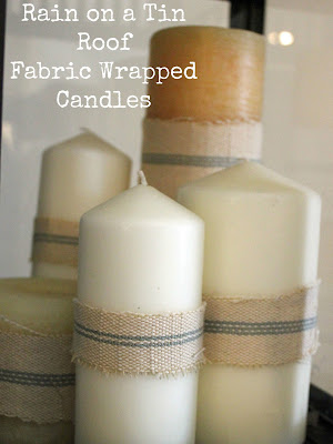 Fabric Wrapped Candles {rainonatinroof.com} #candle #fabric #craft