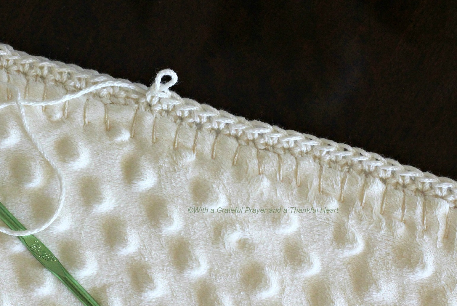 Crocheting Edges On Baby Blankets : the blanket right-side out and began blanket-stitching around the edge ...