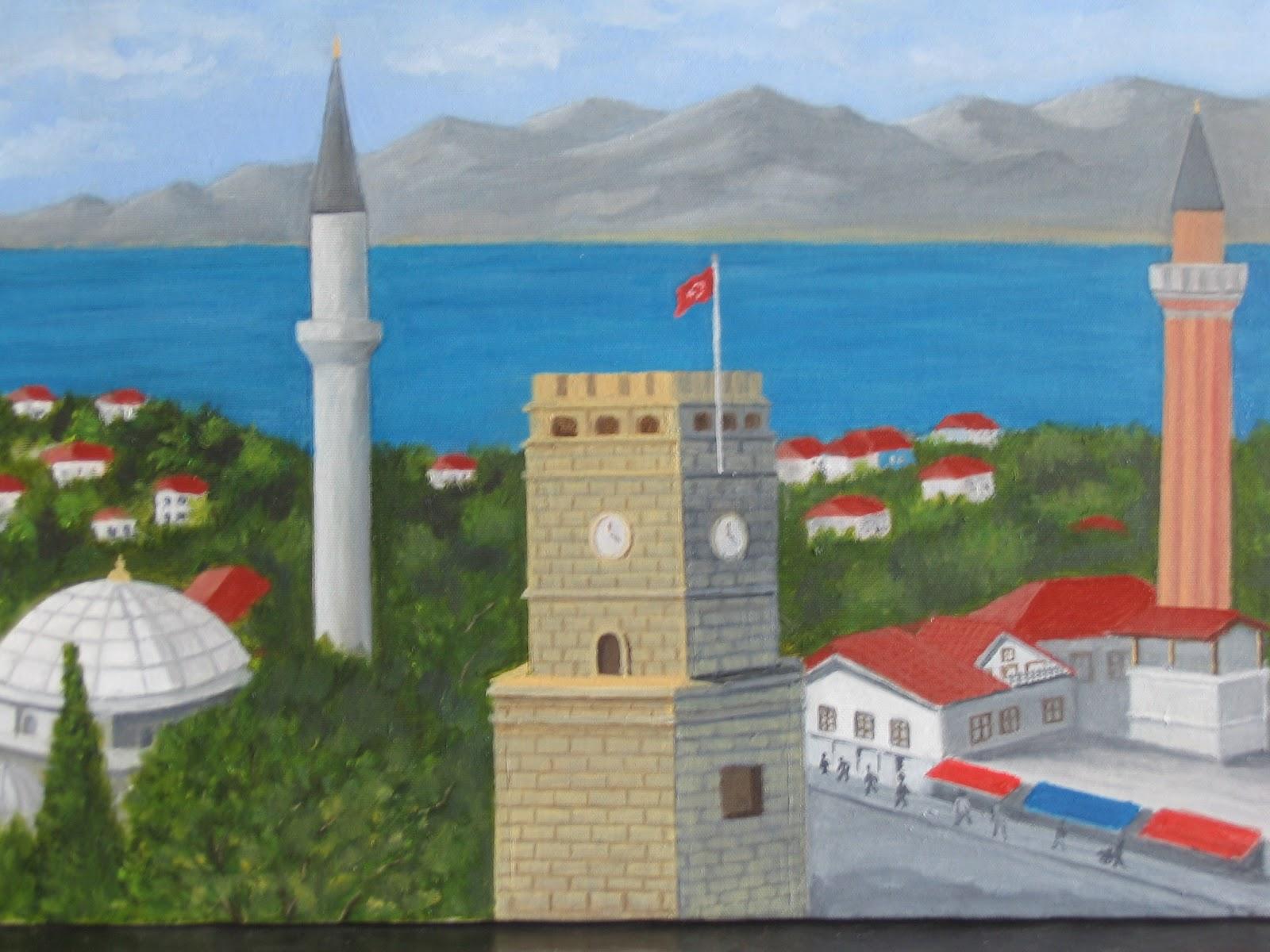 Sanatsal etkinliklerim: Antalya, Saat kulesi, yivli minare - Yağlı boya - The...
