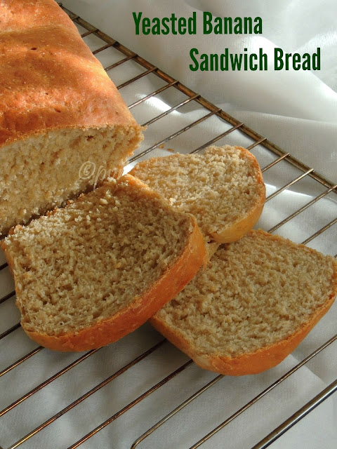 Eggless Yeasted Banana Sandwich Bread