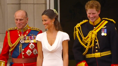 Prince Philip, Pippa Middleton and Prince Harry smiling. YouTube 2011.