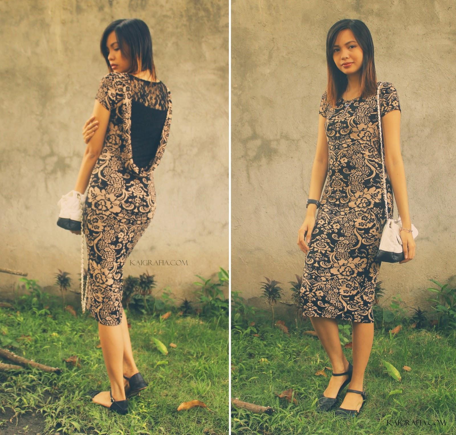 bare back damask dress and flats