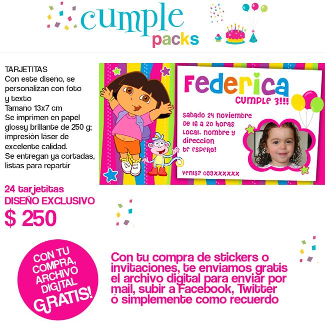 DORA LA EXPLORADORA  Invitaciones  Imanes Y Stickers Personalizados