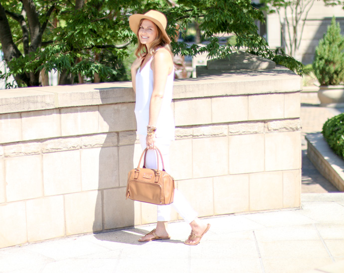 all white outfit with tan accents
