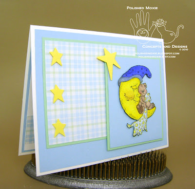 Picture of the front of my handmade sleeping teddy bear baby card set at a right angle