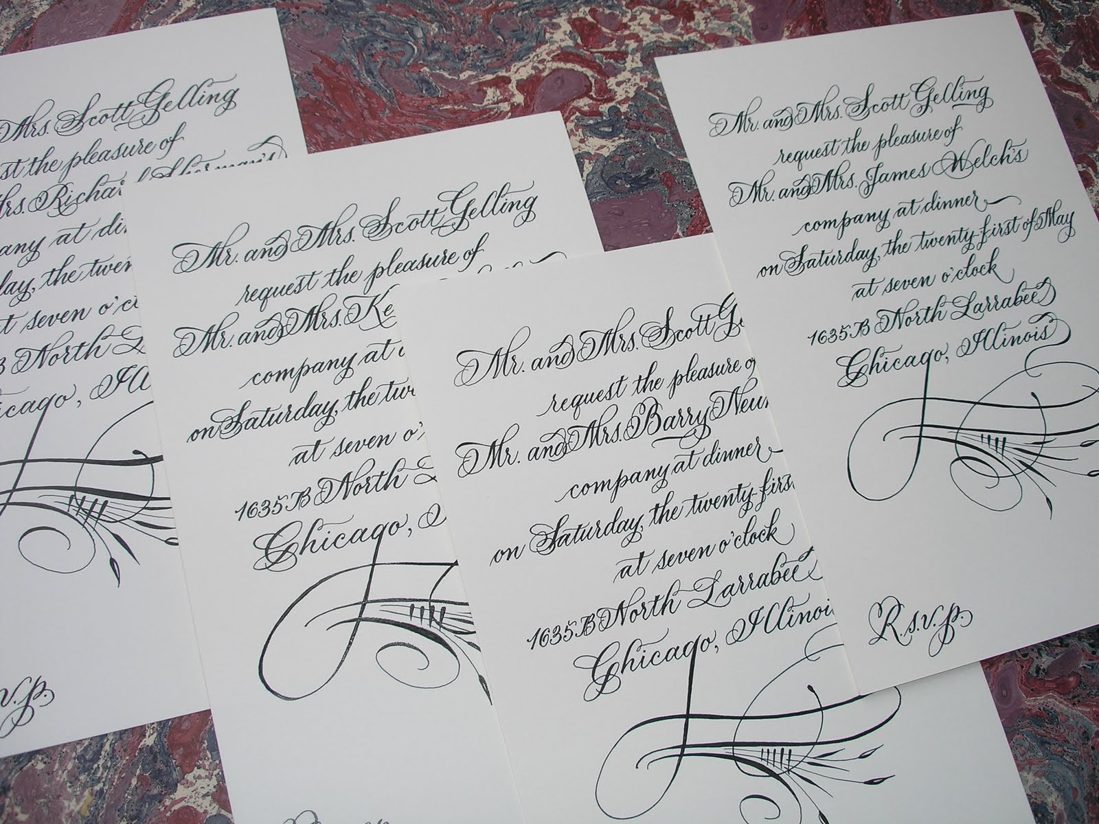 Wedding Calligraphy by Jane Farr: 40th Birthday Dinner Party ...