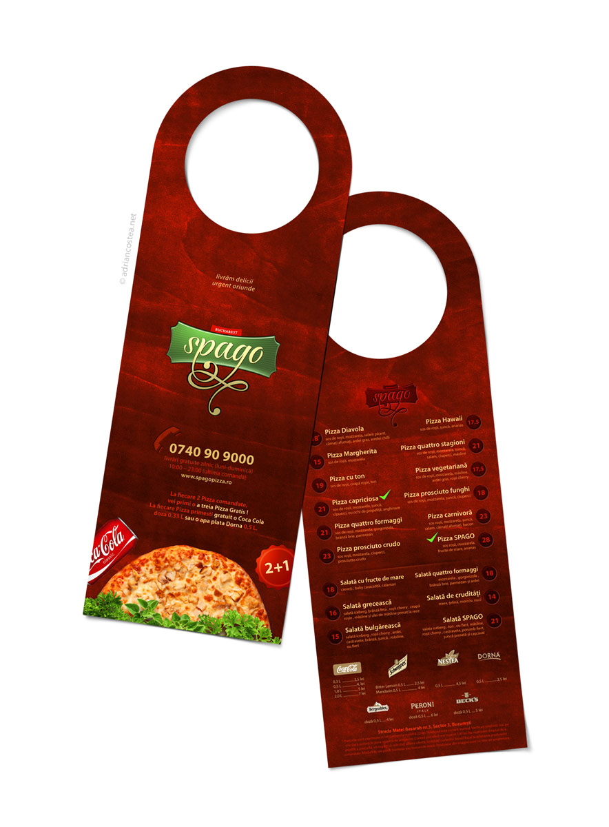 Pizza hangdoor and business card | Adrian A. COSTEA • Senior Media ...