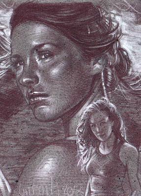 Evangeline Lilly as Kate Austen, Original Sketch Card © 2012 Jeff Lafferty