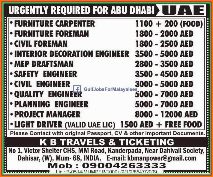 abudhabi urgent job vacancies gulf jobs for malayalees. Black Bedroom Furniture Sets. Home Design Ideas